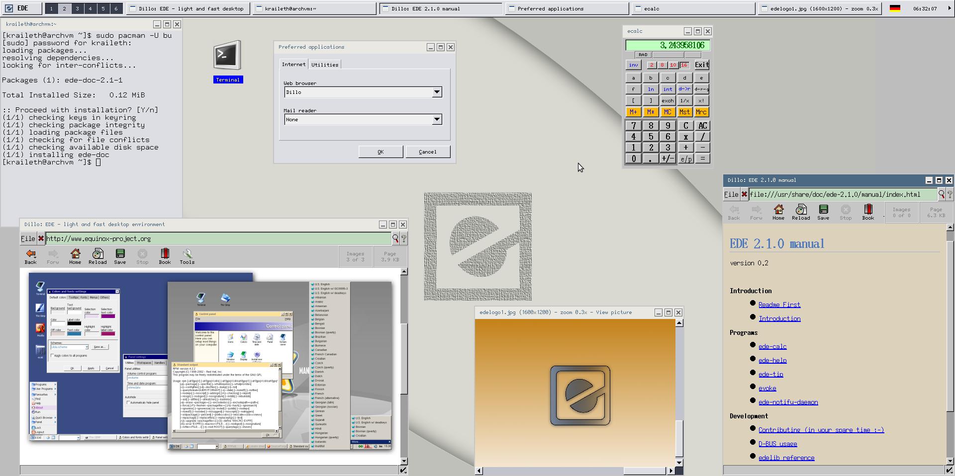Tampilan desktop EDE